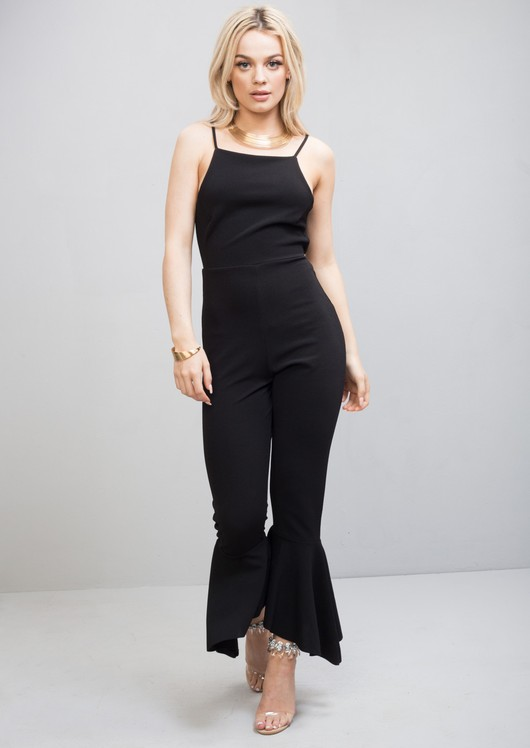 Strappy Tie Back Frill Hem Jumpsuit Black