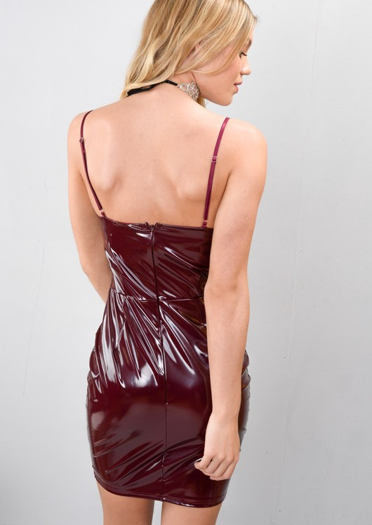 Strappy Vinyl Bodycon Mini Dress Wine Red