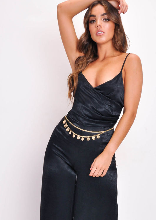 Strappy Wide Leg Wrap Top Jumpsuit Black