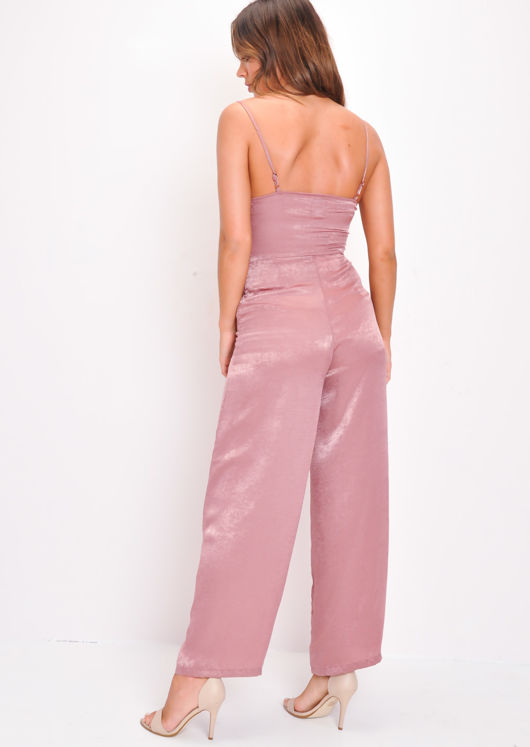 Strappy Wide Leg Wrap Top Jumpsuit Pink