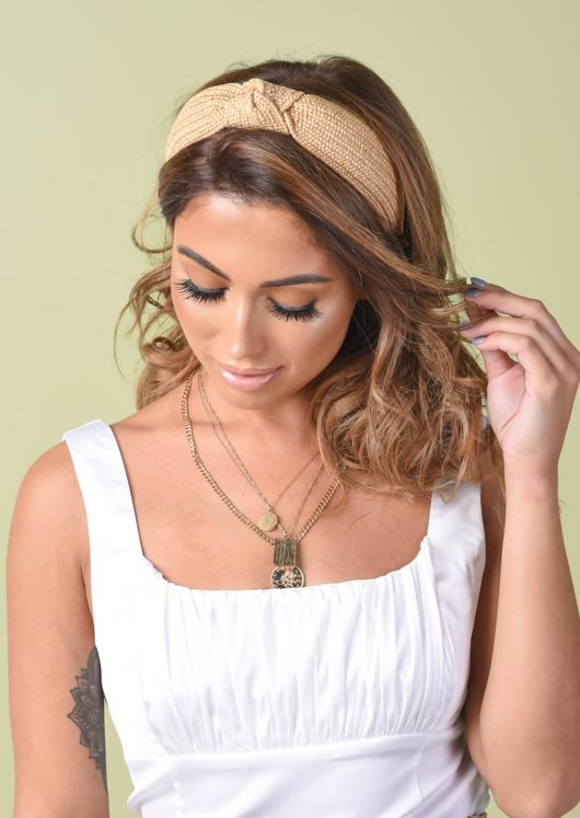 Straw Knot Top Headband Beige