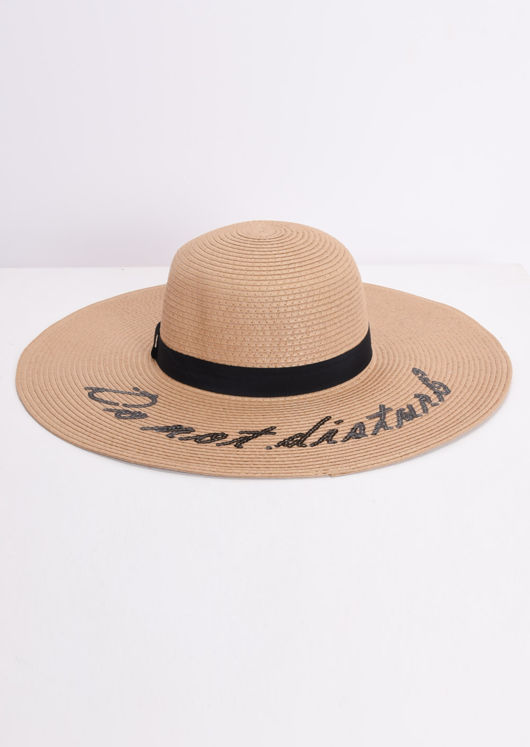 Straw Wide Brim Floppy Hat Brown