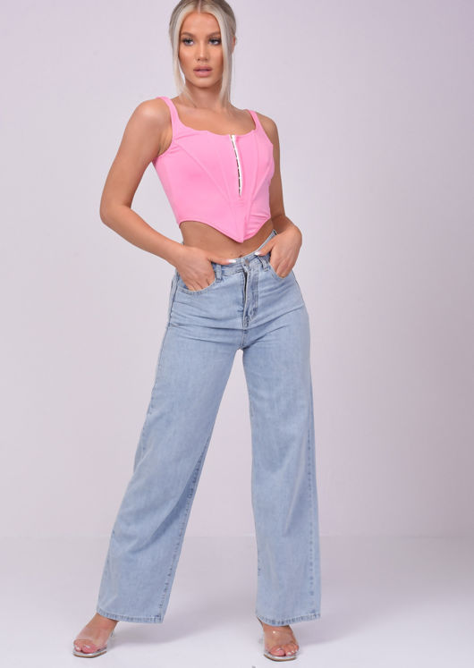 Stretch Cropped Corset Top Pink