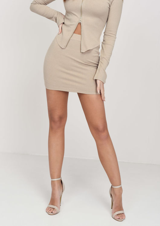 Stretch Waist Ribbed Mini Skirt Beige