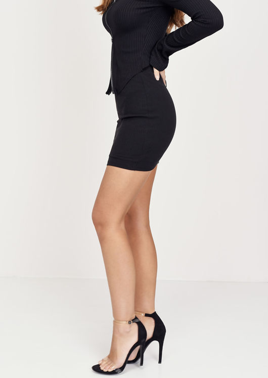 Stretch Waist Ribbed Mini Skirt Black