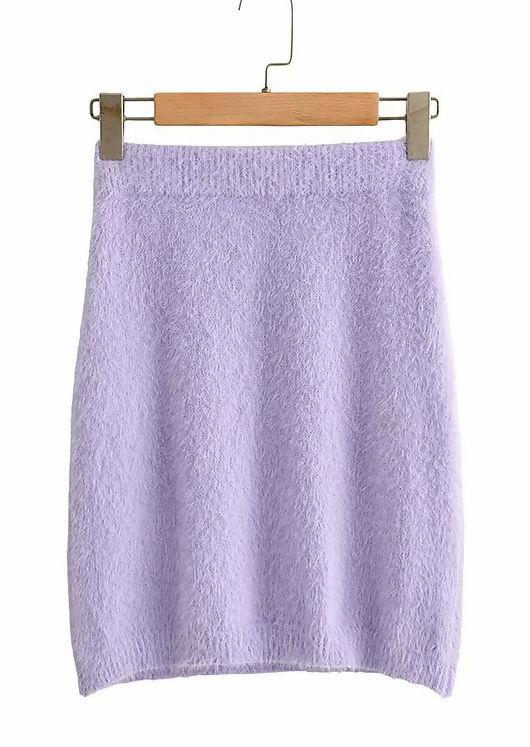 Stretched Waist Ribbed Knit Mini Skirt Purple
