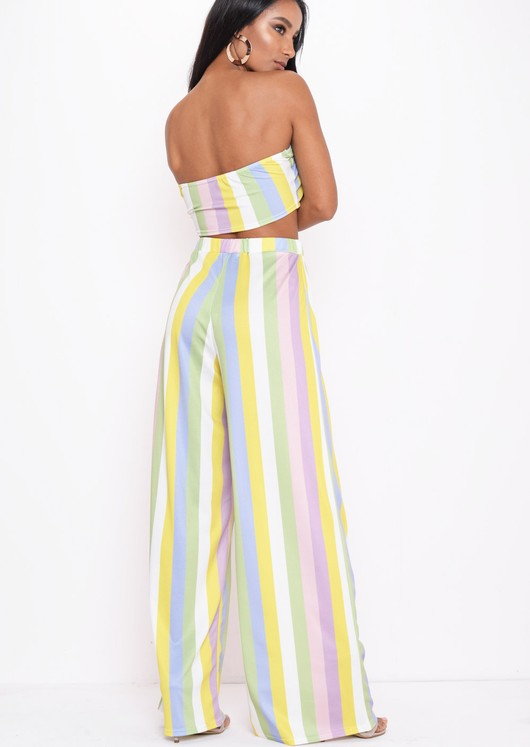 Stripe Bow Crop Top  Wide Leg Trousers Co Ord Multi