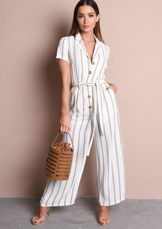 Stripe Button Front Wide Leg Jumpsuit Brown