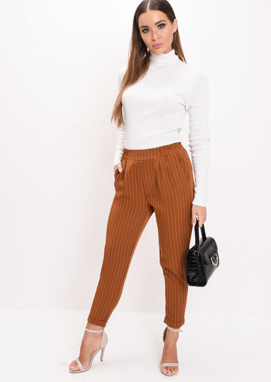 Stripe Elasticated Tapered Trousers Tan Brown
