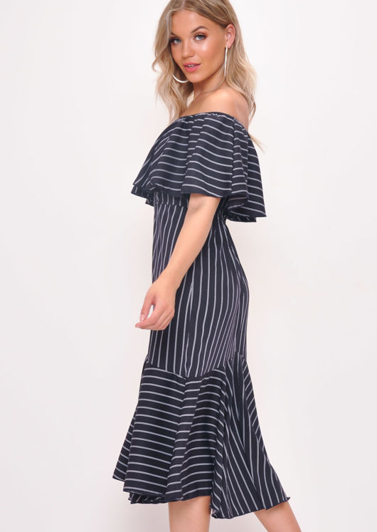 Stripe Frill Bardot Midi Dress Black