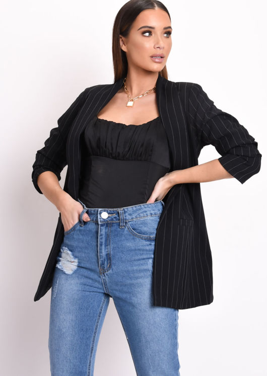 Stripe Gathered Sleeve Longline Blazer Black
