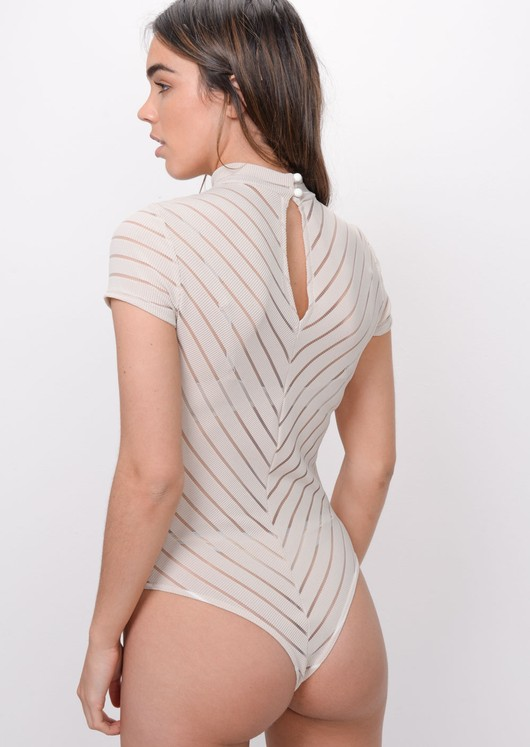 Stripe High Neck Bodysuit Beige