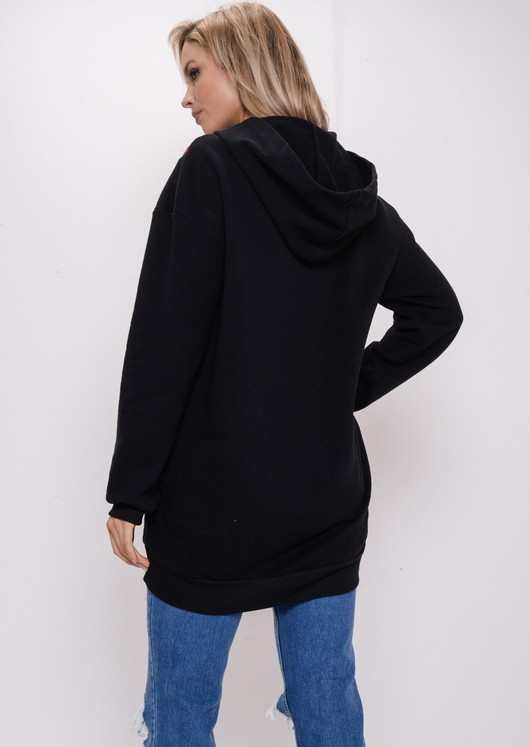 Stripe Hooded Sweatshirt Jumper Black