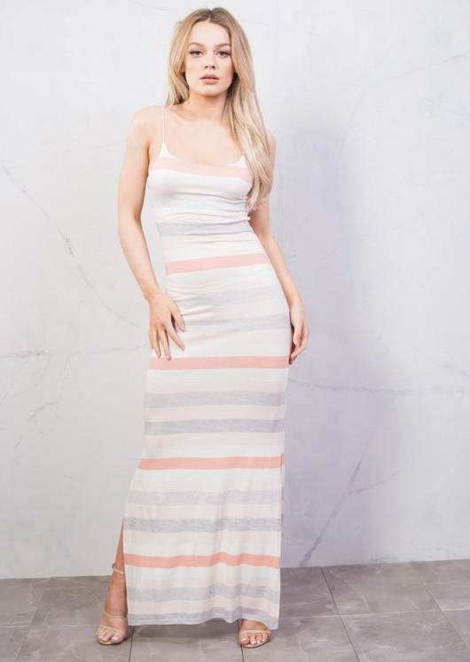 Stripe Jersey Maxi Dress Pink