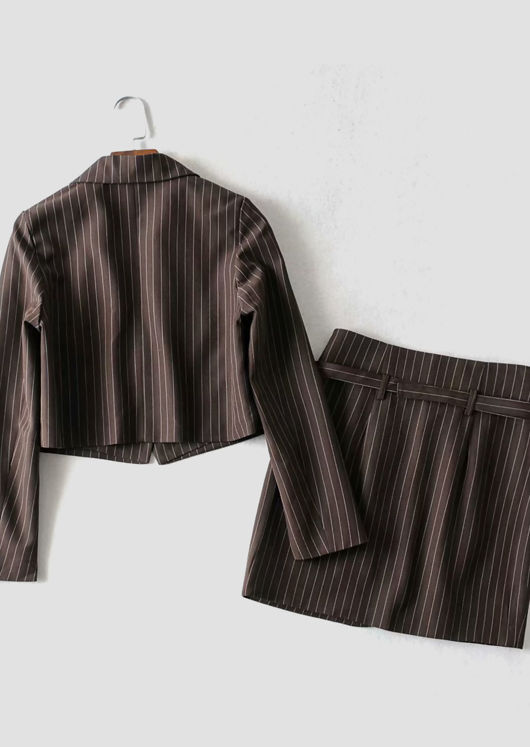 Stripe Patterned Collared Blazer Top And Waist Belted Mini Skirt Co-Ord Set Brown