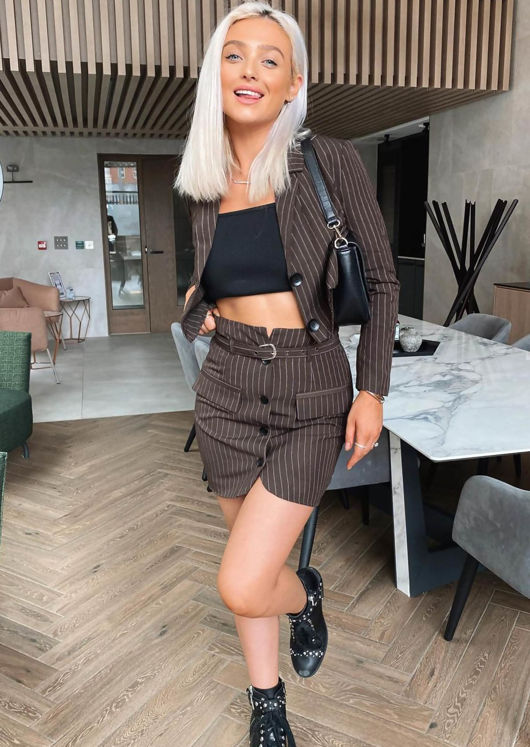 Pin Stripe Collared Blazer And Waist Belted Mini Skirt Co-Ord Set Brown