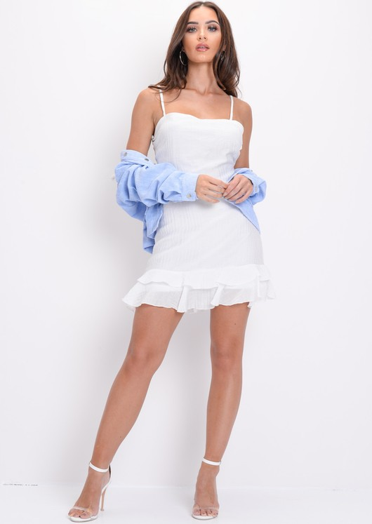 Stripe Tie Back Crop Top and Skirt Co Ord White
