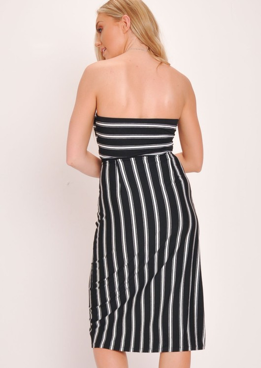 Stripe Tie Front Button Bandeau Midi Dress Black