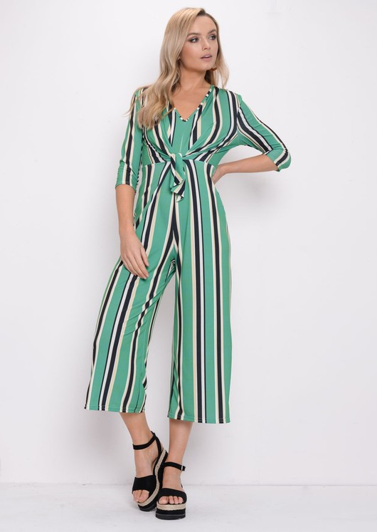 Stripe Tie Front Jumpsuit Green