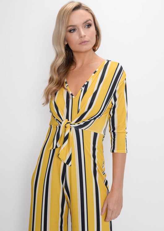 Stripe Tie Front Jumpsuit Yellow