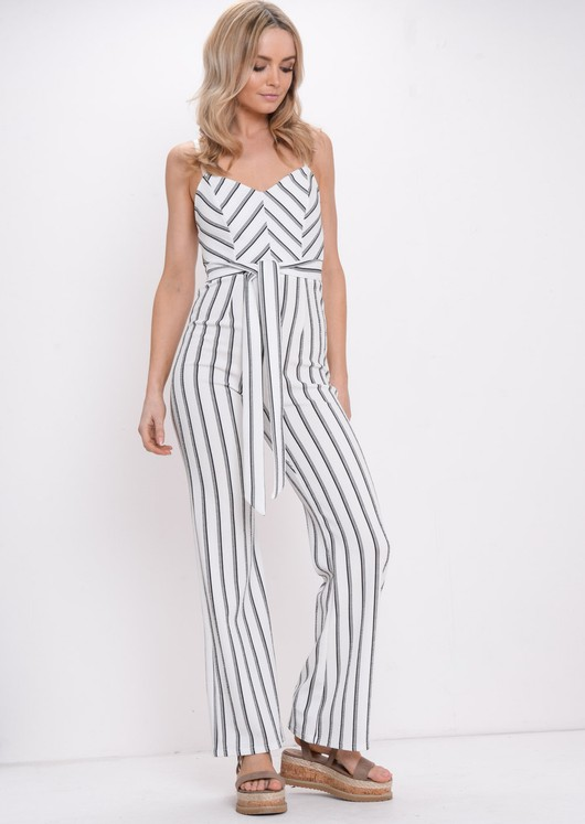 Stripe Tie Waist Jumpsuit White