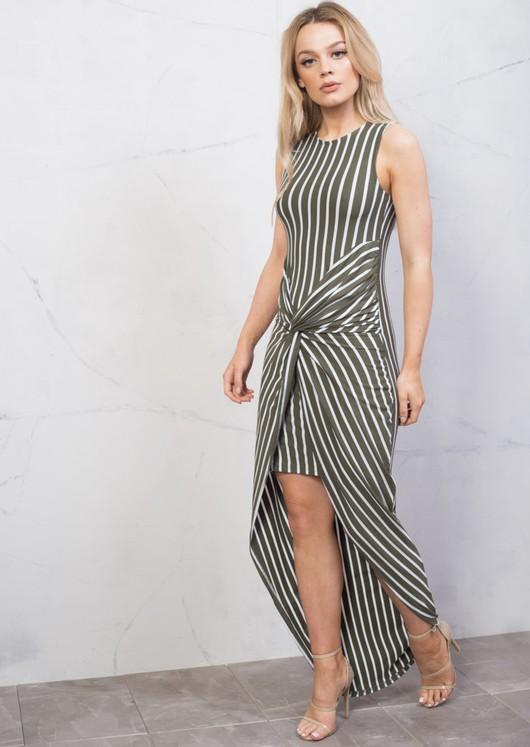 Stripe Twist Knot Dip Hem Maxi Dress Green