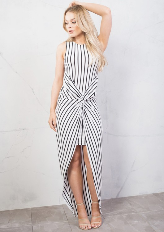 Stripe Twist Knot Dip Hem Maxi Dress White