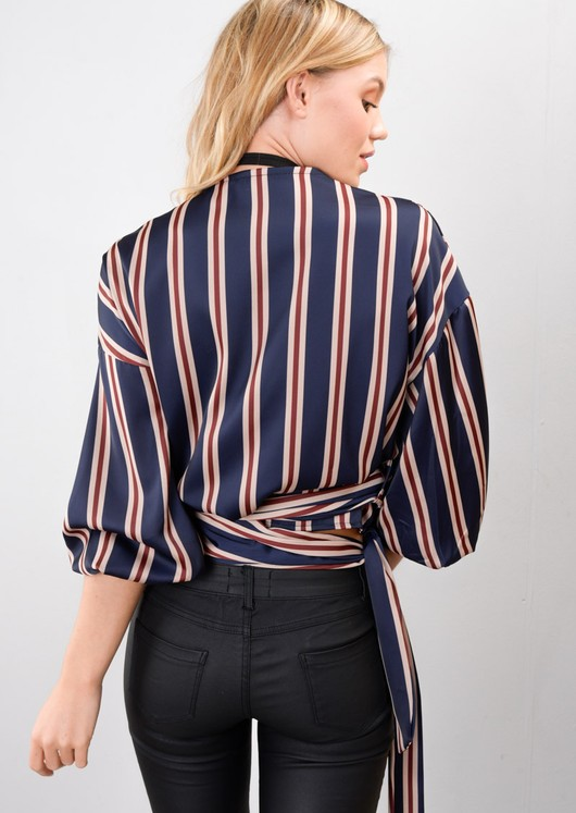 Stripe Wrap Over Tie Waist Blouse Navy Blue