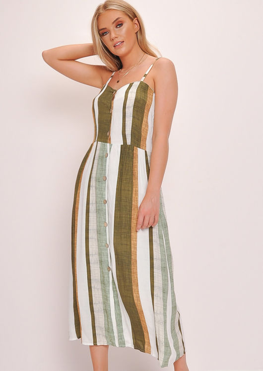 Stripe Button Through Cami Maxi Dress Green