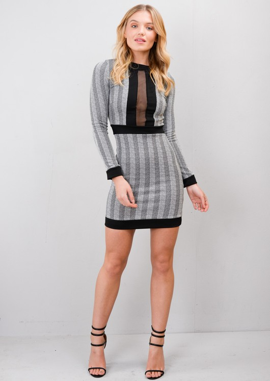Striped Chevron Mesh Front Mini Dress Grey