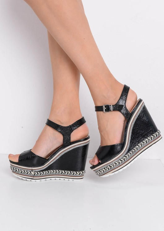 Striped Metallic Wedge Heeled Sandals Black