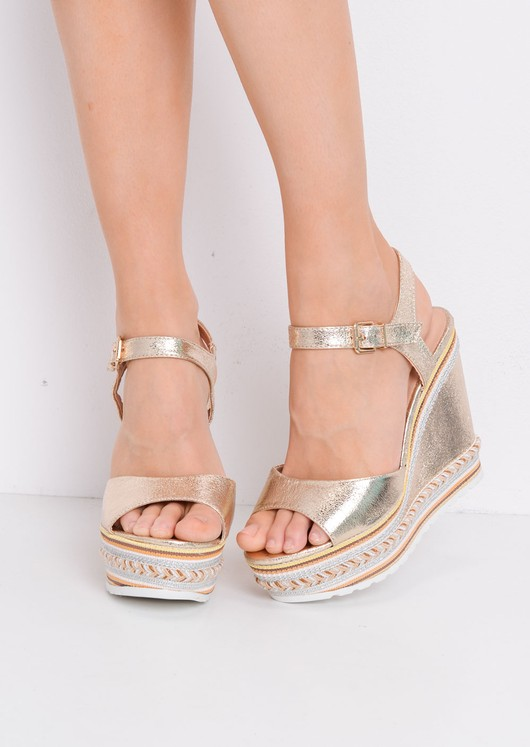 Striped Metallic Wedge Heeled Sandals Gold