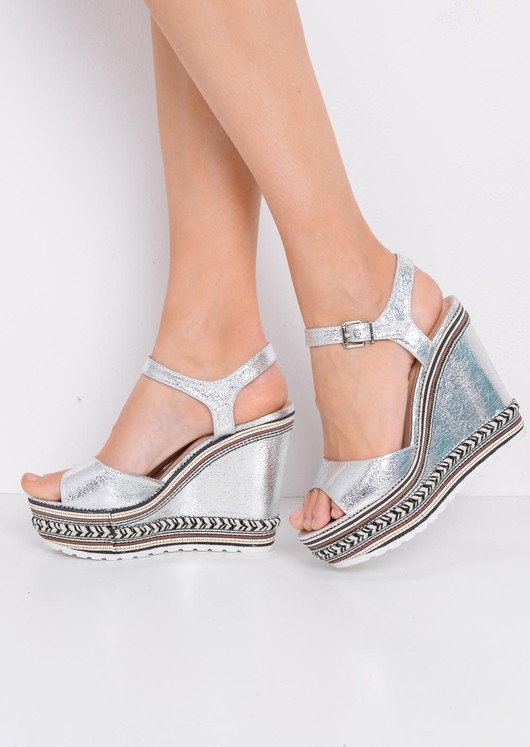 Striped Metallic Wedge Heeled Sandals Silver