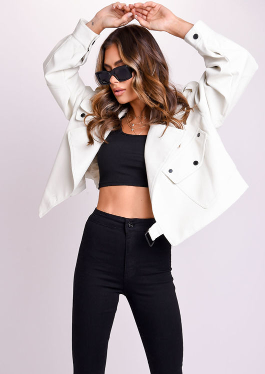 Oversized Metal Ring Strap PU Crop Biker Jacket White