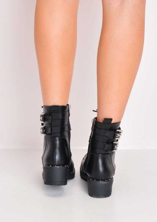 Cleated Stud Embellished Ankle Biker Boots Black