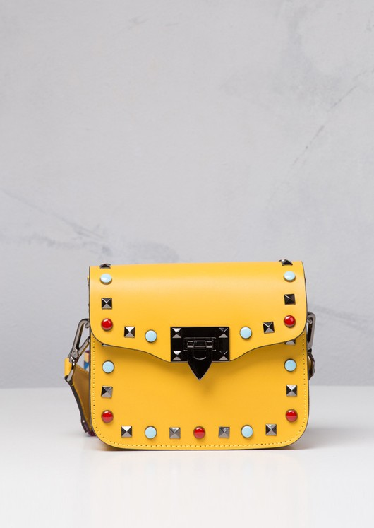 Studded 100% Leather Multi Colour Strap Mini Shoulder Bag Bright Yellow