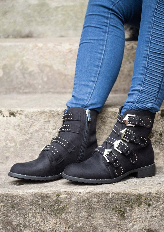 Multi Buckles Pin Studded Ankle Boot Blacks