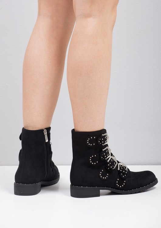 Multi Buckles Pin Studded Ankle Boots Black