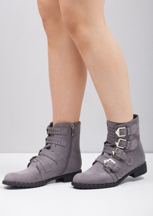 Studded Ankle Boots Grey