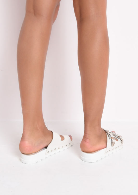 Studded Buckle Faux Leather Western Sliders White