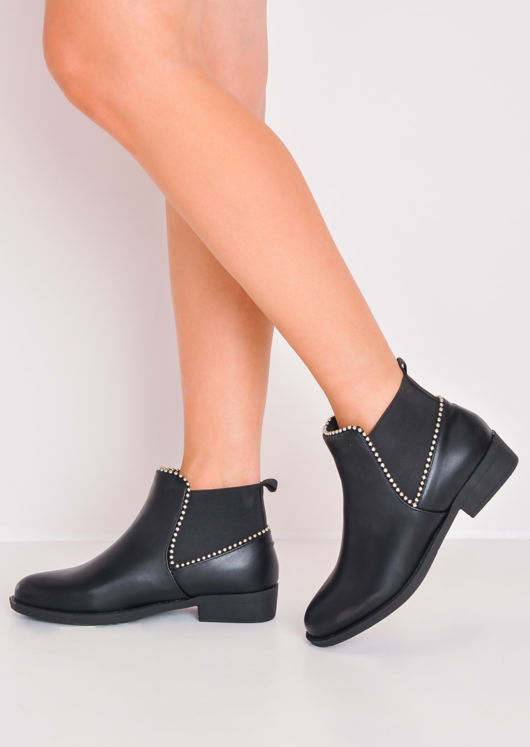 Studded Chelsea Ankle Boots Black