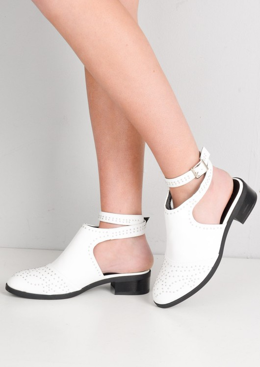 Studded Cut Out Ankle Boots With Buckle Detail White