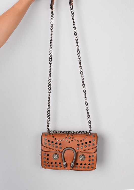Studded Embellished Cross Body Bag Brown