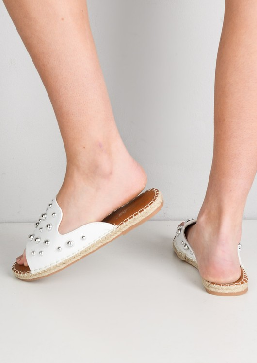 Studded Espadrille Sliders White