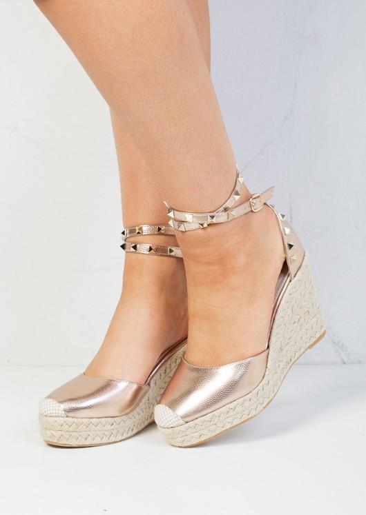 Studded Espadrille Wedge Sandals Rose Pink