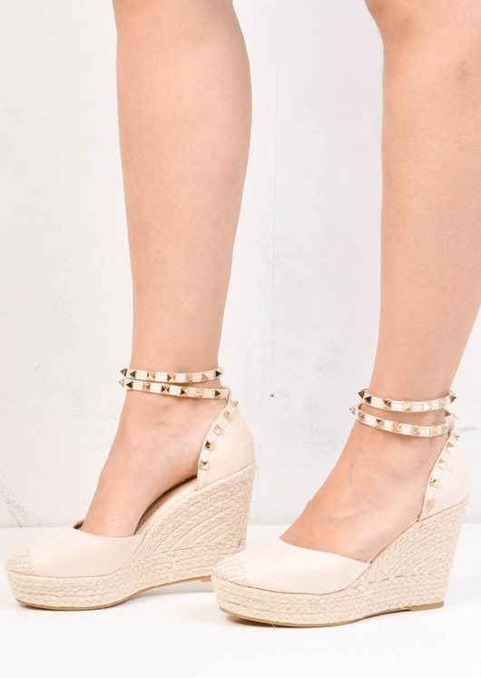 Studded Espadrille Wedge Sandals Suede Beige