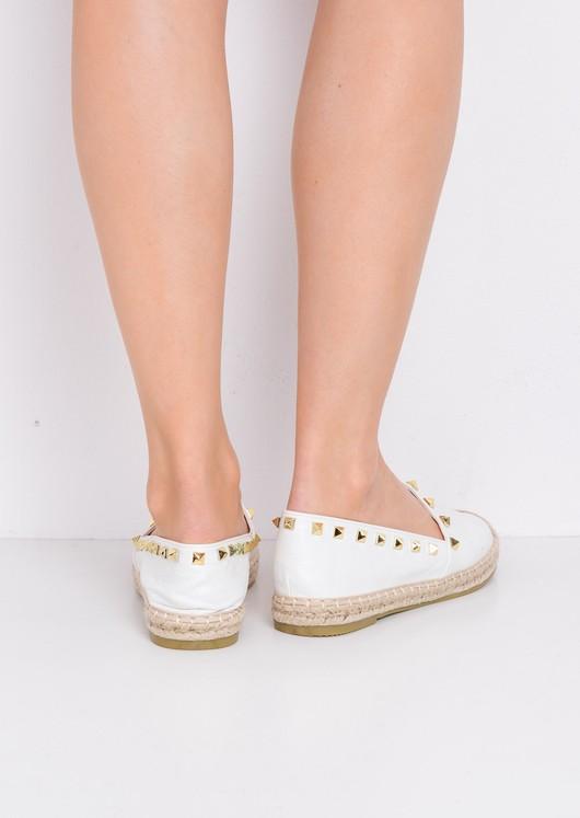 Studded Espadrilles Flats White