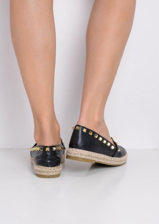 Studded Espadrilles Flats Black