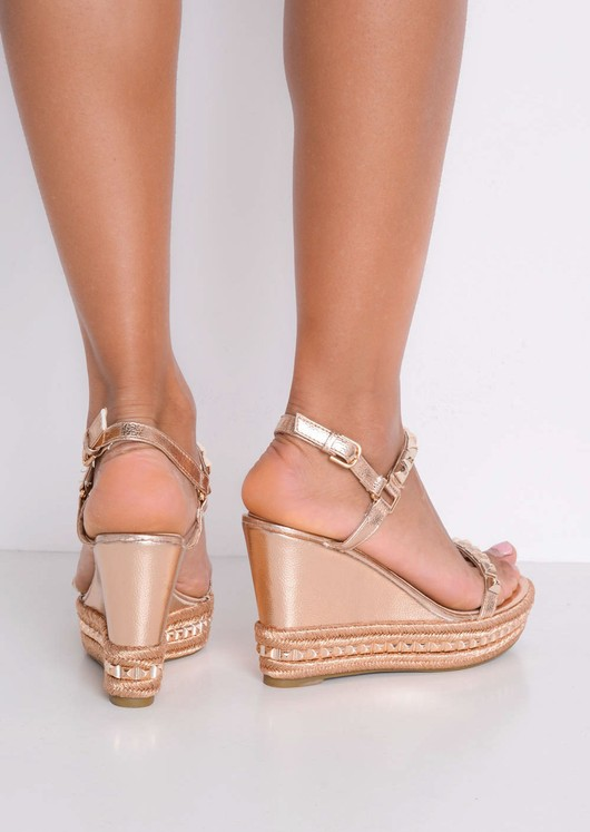 Studded Espadrilles Heeled Platform Braided Wedge Sandals Rose Gold