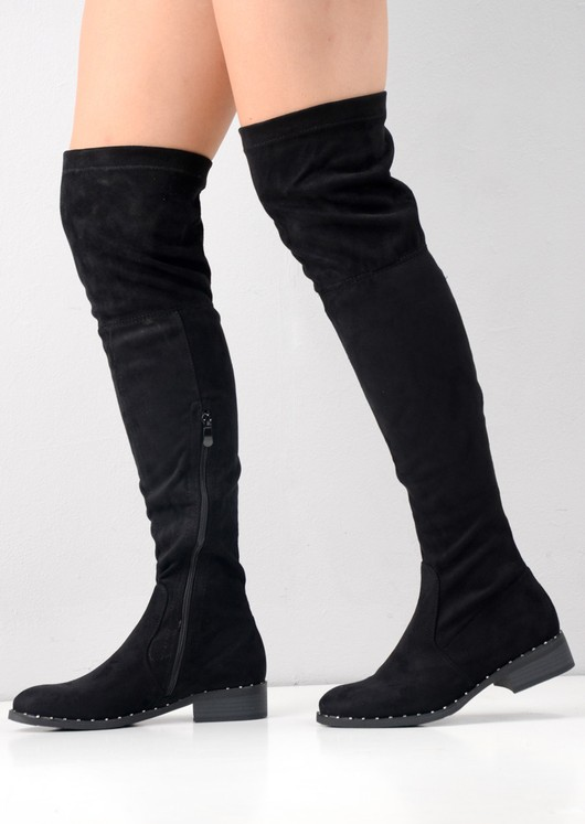 Studded Faux Suede Flat Over The Knee Boots Black